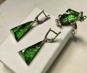 Vintage Art Deco Foil Green Lucite Cabochon Ring Drop Earings Sterling Silver