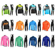 Mens Long Sleeve Cycling Jersey Jacket Bibs Tights Breathable Bicycle Suit Bike