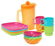 Tupperware Childrenand039s Mini Party Plates Mugs Bowls Pitcher Pink Green Orange