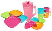 Tupperware Children's Mini Party Plates Mugs Bowls Pitcher Pink Green Blue New