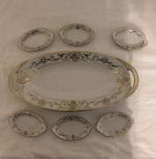 Vintage Hand Painted Nippon Celery Dish And 6 Salt Tray Cellars