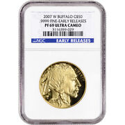 2007 W American Gold Buffalo Proof 1 Oz 50 - Ngc Pf69 Ucam Early Releases