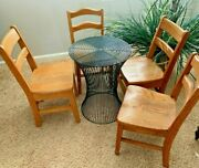 Antique Furniture 1950and039s Wood Child Chair And Black Metal Table Set Of 5 Pc