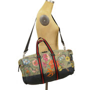 New 2780 Army Green Flora Snake Print Cotton Canvas Overnight Duffle Bag