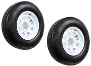 2-pk Radial Trailer Tire Rim St225/75r15 225/75-15 6 Lug Bolt White Spoke Wheel