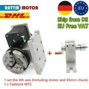 【in De】k11-65mm The Fourth Axis 3 Jaw Chuck Rotary Axis+54mm Tailstock Ratio 41