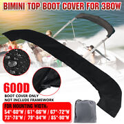 600d Bimini Top Boot Cover Storage Bag Sock Boat Shade No Frame Black For 3 Bow