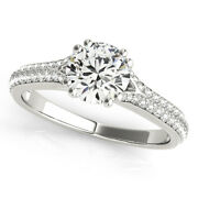 1.10 Ct 6.5mm Moissanite Round Colorless Def Pave Engagement Wedding Ring