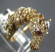 Large .89ct Diamond And Aaa Ruby 18kt White And Rose Gold Handcrafted Horse Fun Ring