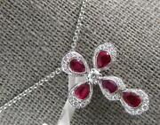 1.17ct Diamond And Aaa Ruby 18kt White Gold 3d Pear Shape Cross Floating Pendant