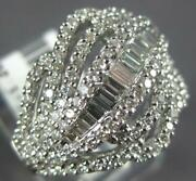 Estate Wide 1.20ct Diamond 14kt White Gold Round And Baguette Multi Leaf Fun Ring