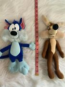 Lot Of 2 Applause Wile E Coyote Plush Looney Tunes Bendable Legs Vintage Blue