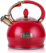 Stove Top Tea Kettle Whistling Water Heater Boiler Teakettle Kitchen Teapot Red