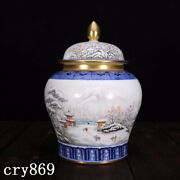 Old China Antique Qing Dynasty Blue And White Ink Color Landscape Painting Pot