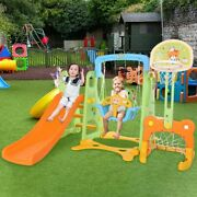 Swing Set For Backyard Playground Slide Fun Playset Outdoor Small Space 5 In 1