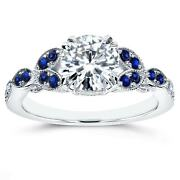 Annello By Kobelli 14k White Gold Blue Sapphire And 1ct Tdw