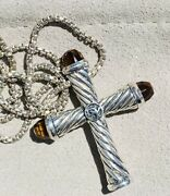 Retired David Yurman Sterling Silver And Citrine Cross Pendant Necklace