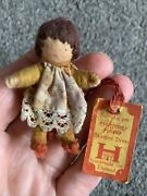 Vintage Halfpenny Miniature Yarn Wire Wrapped Brunette Girl Doll 2andrdquo W/tag Nr