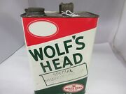 Vintage Advertising Wolfand039s Head 1 Gallon Oil Can Garage Shop Tin A-439