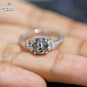 14k Gold Metal Salt And Pepper Oval Shape Diamond Engagement And Wedding Ring