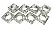 Clear Lucite Acrylic Napkin Rings Holders Square Retro Set Of 8