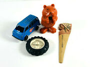 Lot 4 Junk Drawer Toy Car Compass Tire Beaver Pencil Sharpener Indian Letter O