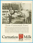 1921 Carnation Evaporated Milk From Contented Cows Dairy Farmer Photo Ad