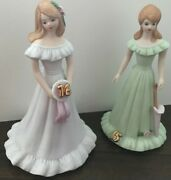 2 1982 Enesco Birthday Growing Up Girls 15 And 16 Year Old Doll Figurine
