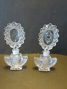 Imperial Irice Perfume Bottles And Stoppers Set 1942-1943 Usa Vtg Pressed Glass