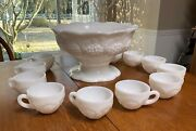 Milk Glass Panel Grape Punch Bowl Set Pedestal With 11 Matching Cups