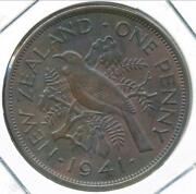 New Zealand 1941 One Penny 1d George Vi - Extra Fine