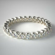 Round Cut 1.00 Ct Real Diamond 18k White Gold Engagement Eternity Bands Size 7 8