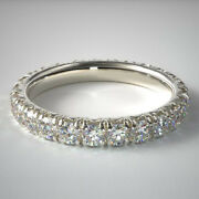 Round Cut 1.50 Ct Real Diamond 18k White Gold Engagement Eternity Bands Size 6 7