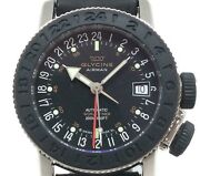 Glycine Airman 3928.2 Automatic Black Dial 200m Stainless Steel Leather Men 42mm