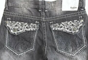 Vtg South Pole Jeans Faded Distressed Black Baggy Retro 90and039s Mens 38x27