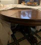 Antique 70andrdquo Carved Oak Hastings Dining Table With 7 Leaf -beautiful