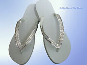 Havaianas Flip Flops White With Opal Crystals Rhinestone Bling
