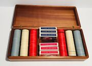 Vtg Rare Poker Set Wooden Box With Clay Poker Chips And 6 Decks Of Cards