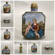 Old Beijing Chinese Cloisonne Snuff Bottle Enamel Painted Bottles Dame Paris