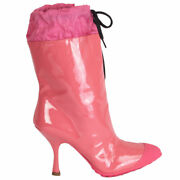 62820 Auth Miu Miu Pink Patent Leather Rain Boots Shoes 36
