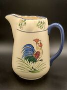 Vintage Rooster Hand Painted Pitcher, Marked Cb On Bottom