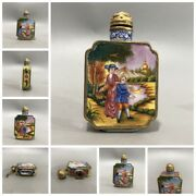Old Beijing Chinese Cloisonne Snuff Bottle Enamel Bottles Box Gifts Love Painted