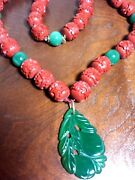 Vintage Chinese China Carved Cinnabar And Jade Huge Beads Necklace