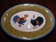 Milson And Louis Hand Painted 2 Roosters Serving Oval Plate Green Band Blue Trim