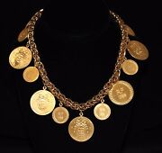 Christian Dior Necklace Gold Plated Bicentenary Medals - 198 Grams - Dior Logo