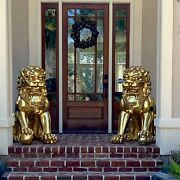 Gold Foo Dogs Lion Statues For Imperial Mansion Palace Chinese Pair