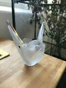 Lalique Crystal Sylvie Dove Frosted Vase With Flower Frog