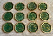 Set Of 12 Mottahedeh Emeral Green Octagonal Chinoiserie Plates