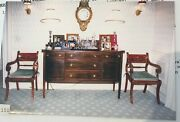 Pair Of Regency-style Chinoiserie-painted Red Lacquer Chairs Velvet Cushions