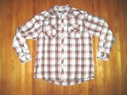 Vintage Bke Red/white Plaid Athletic Fit Pearl Snap Casual Cowboy Shirt 2xl New